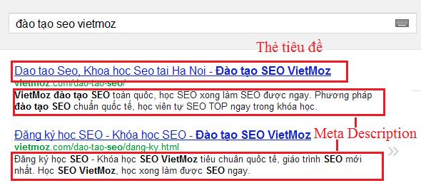 Thẻ tiêu đề và thẻ mô tả hiển thị trên trang kết quả tìm kiếm