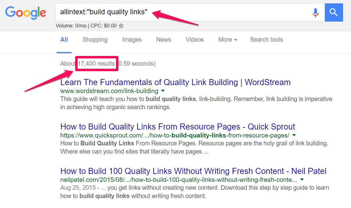 Truy vấn tìm kiếm với cụm từ build quality links