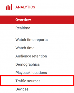 Click vào analytics và traffic sources