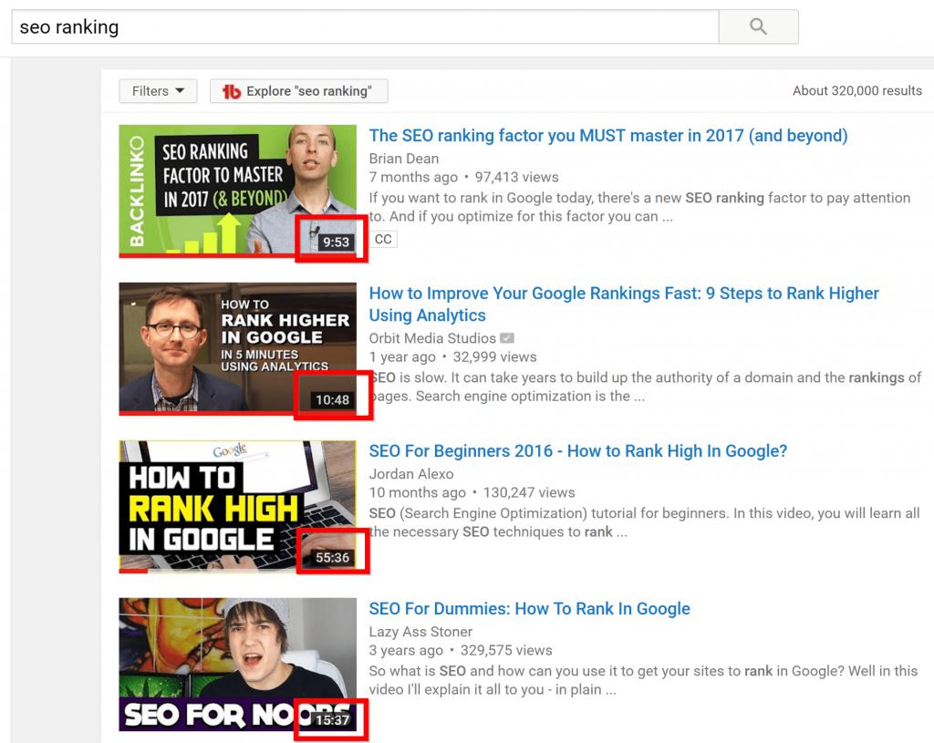 Thông thường các video được xếp hạng cao thường khá dài