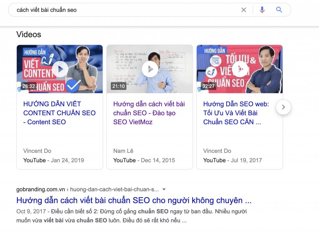 video xuất hiện trên kết quả tìm kiếm Google
