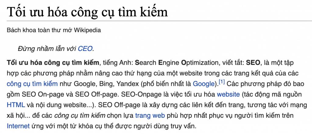Wikipedia tiếng Việt giải thích về SEO