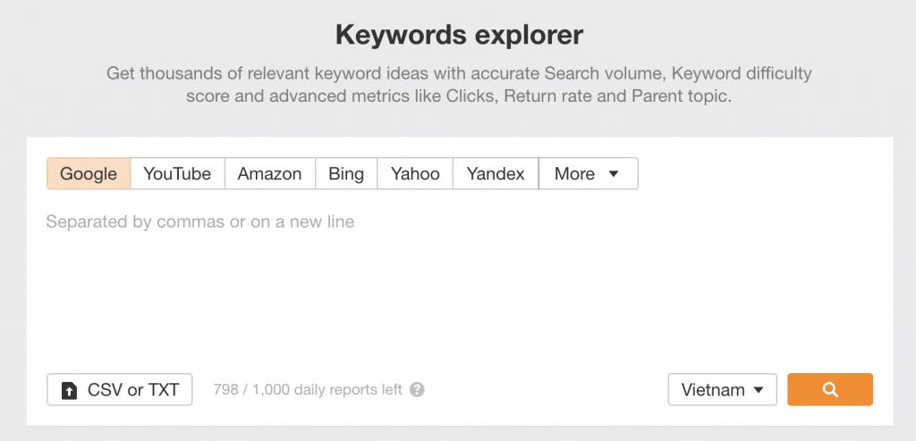 Giao diện chức năng keywords explorer của Ahrefs