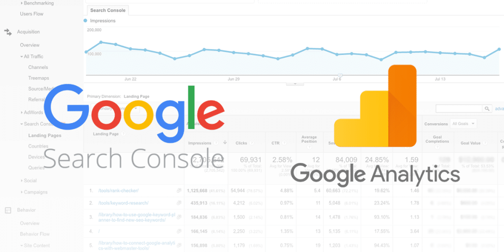 search console và google analytics