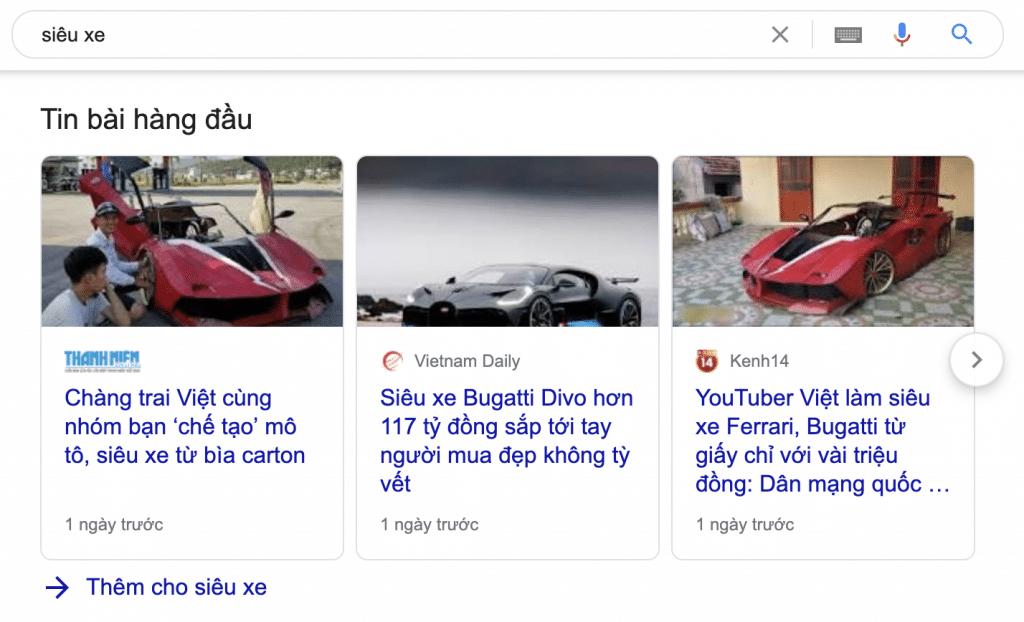 tin bài hàng đầu (top stories)